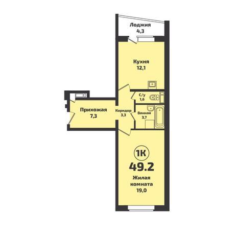 Вариант №4931, 1-комнатная квартира в жилом комплексе Новые Снегири