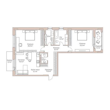 Вариант №3567, 3-комнатная квартира в жилом комплексе