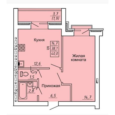 Вариант №4306, 1-комнатная квартира в жилом комплексе