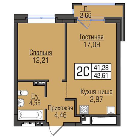 Вариант №2946, 2-комнатная квартира в жилом комплексе Ясный берег