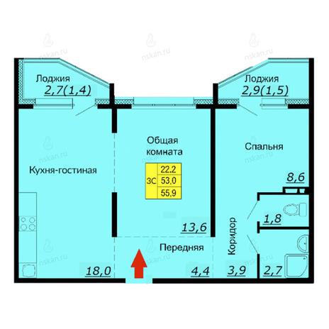 Вариант №2586, 3-комнатная квартира в жилом комплексе