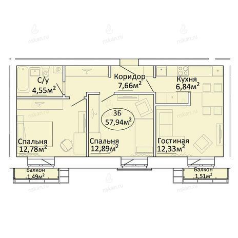 Вариант №2189, 3-комнатная квартира в жилом комплексе Малахит