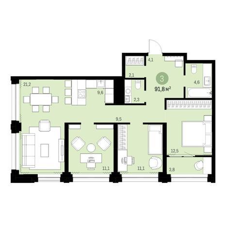 Вариант №6138, 4-комнатная квартира в жилом комплексе