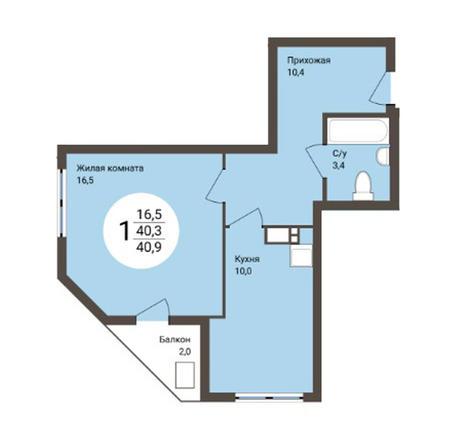 Вариант №4558, 1-комнатная квартира в жилом комплексе Ясный берег