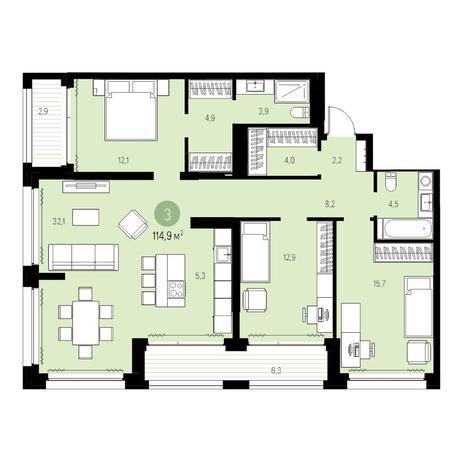 Вариант №5462, 4-комнатная квартира в жилом комплексе