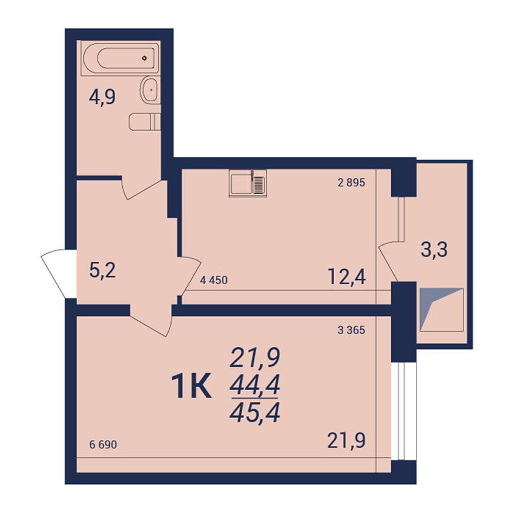 Планировка 1-комнатная площадью 45.4 м<sup>2</sup> в ЖК NOVA-дом