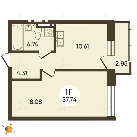 Вариант №2117, 1-комнатная квартира в жилом комплексе