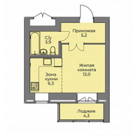 Вариант №4415, 1-комнатная квартира в жилом комплексе Эскимо