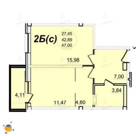 Вариант №1396, 2-комнатная квартира в жилом комплексе РэдФокс