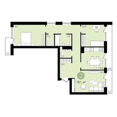 Вариант №3292, 3-комнатная квартира в жилом комплексе Квартал на Никитина