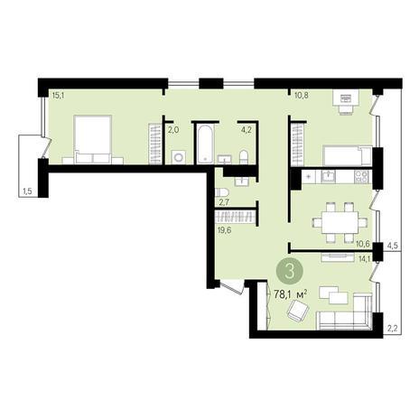 Вариант №3292, 3-комнатная квартира в жилом комплексе
