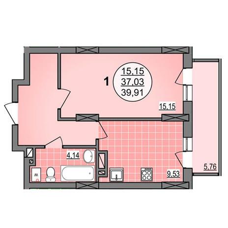Вариант №3880, 1-комнатная квартира в жилом комплексе Гурьевский