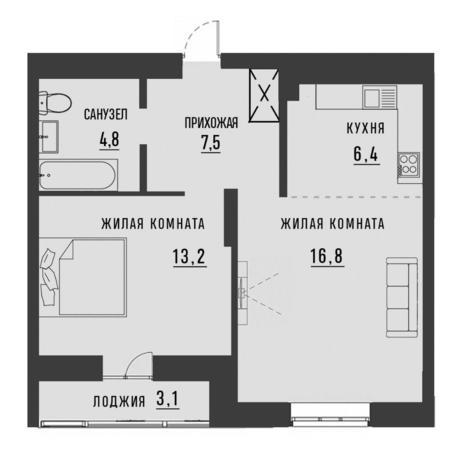 Вариант №4189, 2-комнатная квартира в жилом комплексе Облака