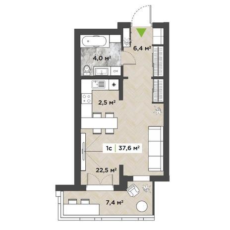 Вариант №5847, 1-комнатная квартира в жилом комплексе