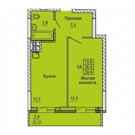 Вариант №5643, 1-комнатная квартира в жилом комплексе