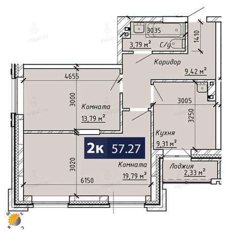 Вариант №1861, 2-комнатная квартира в жилом комплексе На Лежена