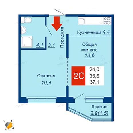 Вариант №2530, 2-комнатная квартира в жилом комплексе Чистая Слобода
