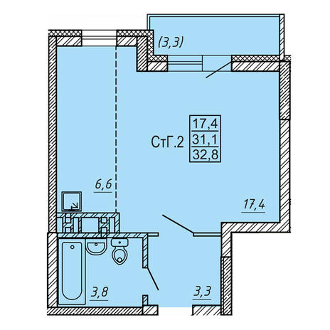 Вариант №4123, 1-комнатная квартира в жилом комплексе Акварельный 3.0