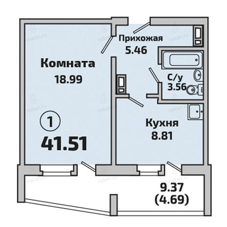 Вариант №2849, 1-комнатная квартира в жилом комплексе Приозерный