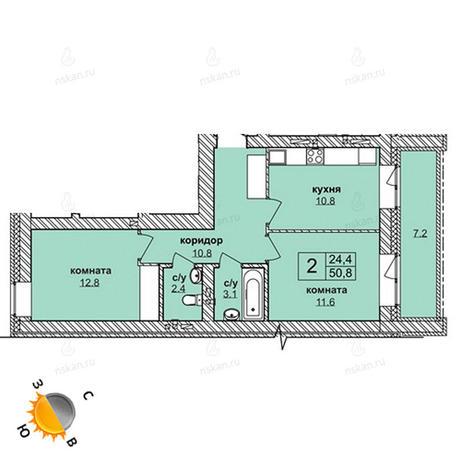 Вариант №1616, 2-комнатная квартира в жилом комплексе