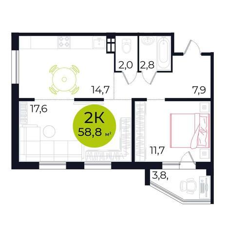 Вариант №5494, 2-комнатная квартира в жилом комплексе Галактика