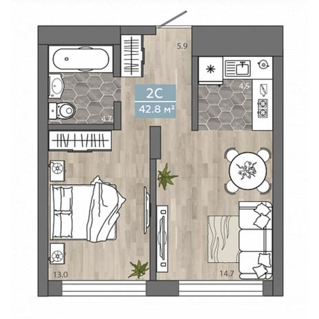 Вариант №4539, 2-комнатная квартира в жилом комплексе