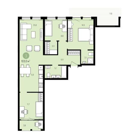 Вариант №5009, 4-комнатная квартира в жилом комплексе Пшеница