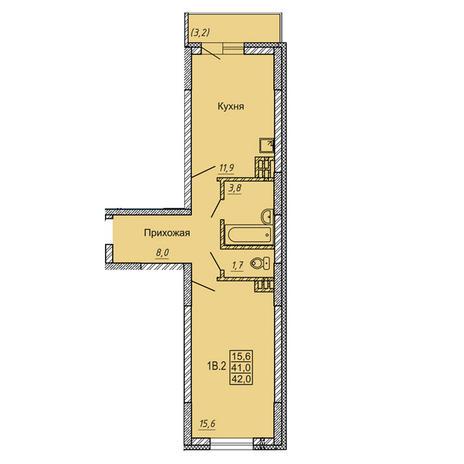 Вариант №4126, 1-комнатная квартира в жилом комплексе Ключевой