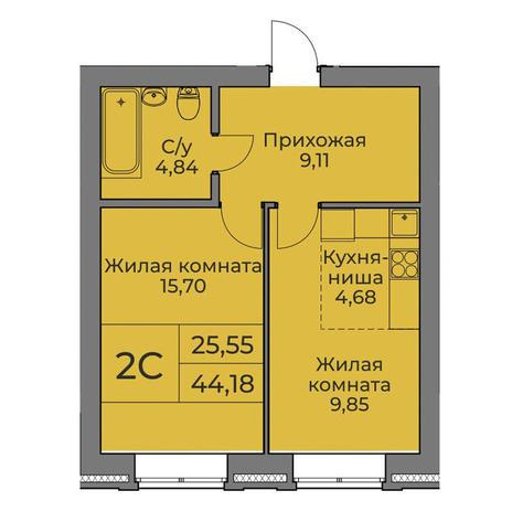 Вариант №3550, 2-комнатная квартира в жилом комплексе Облака