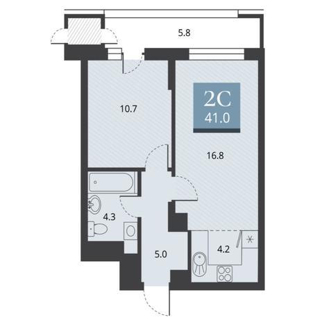 Вариант №5665, 2-комнатная квартира в жилом комплексе