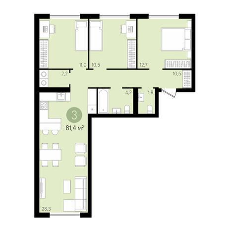 Вариант №3440, 4-комнатная квартира в жилом комплексе Приозерный