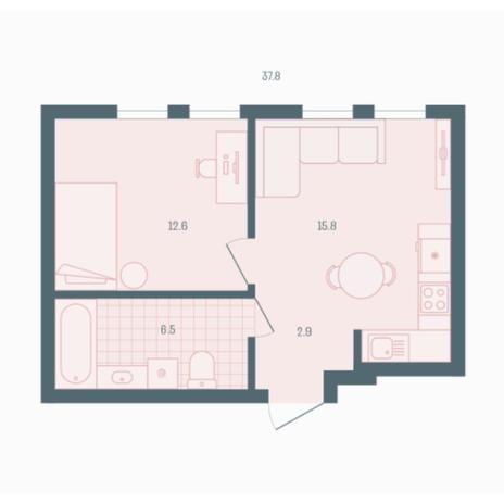 Вариант №5935, 1-комнатная квартира в жилом комплексе