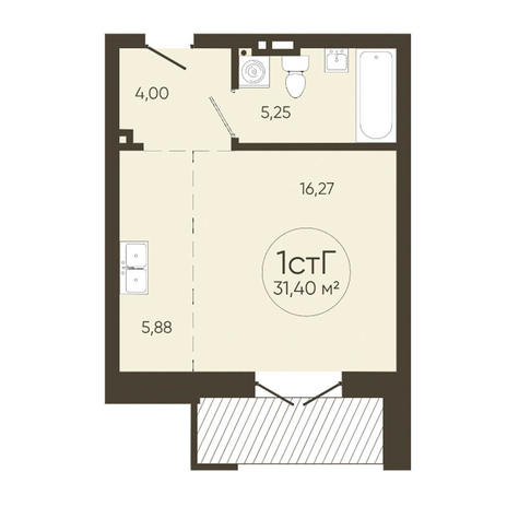 Вариант №3626, 1-комнатная квартира в жилом комплексе История