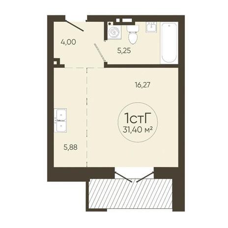 Вариант №3626, 1-комнатная квартира в жилом комплексе