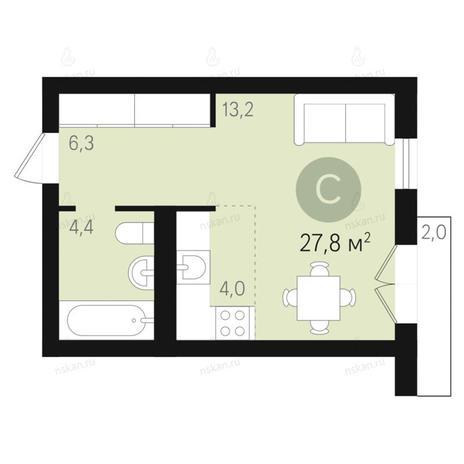 Вариант №2672, 1-комнатная квартира в жилом комплексе