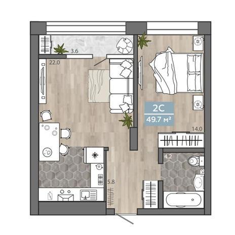 Вариант №3113, 2-комнатная квартира в жилом комплексе На Королева
