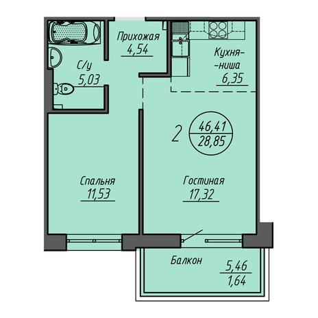 Вариант №3214, 2-комнатная квартира в жилом комплексе Шесть звезд