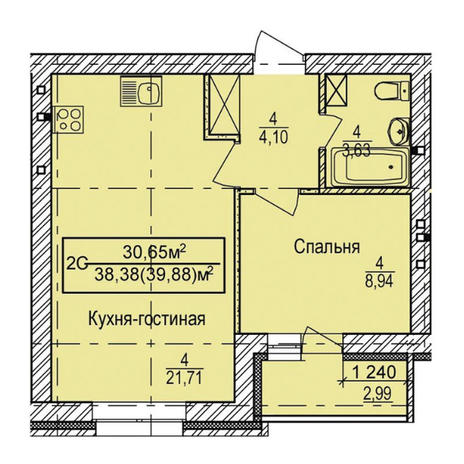 Вариант №3335, 2-комнатная квартира в жилом комплексе