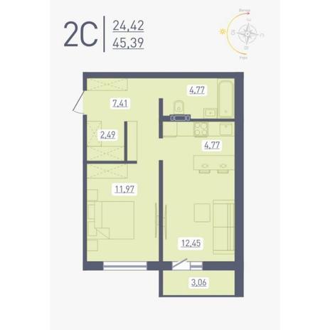 Вариант №4877, 2-комнатная квартира в жилом комплексе Радуга Сибири