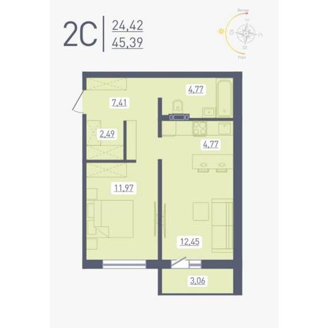 Вариант №4877, 2-комнатная квартира в жилом комплексе