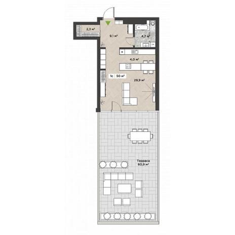 Вариант №5863, 1-комнатная квартира в жилом комплексе