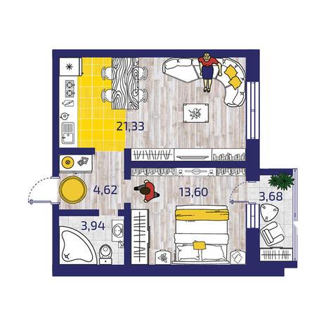 Вариант №3721, 2-комнатная квартира в жилом комплексе