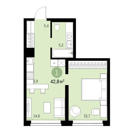 Вариант №6310, 2-комнатная квартира в жилом комплексе