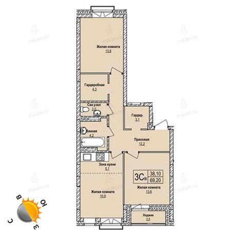 Вариант №1238, 3-комнатная квартира в жилом комплексе Облака