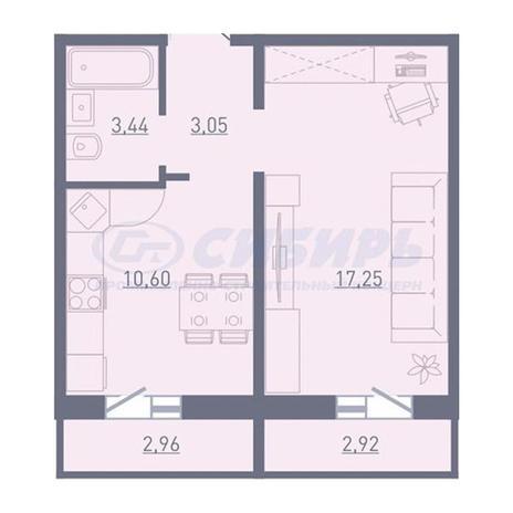 Вариант №3752, 1-комнатная квартира в жилом комплексе