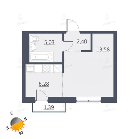 Вариант №1626, 1-комнатная квартира в жилом комплексе Дунаевский