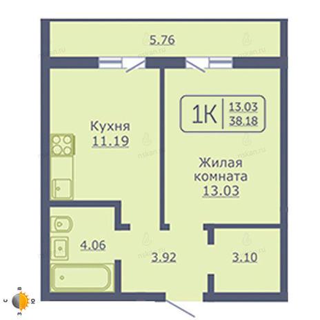 Вариант №2051, 1-комнатная квартира в жилом комплексе