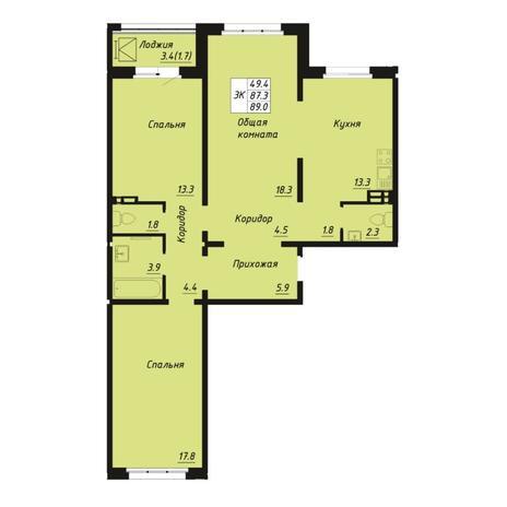 Вариант №5266, 3-комнатная квартира в жилом комплексе