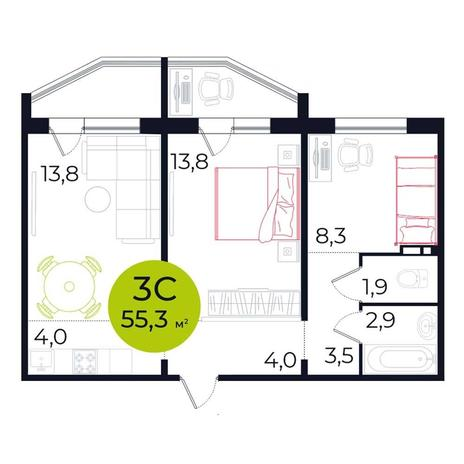 Вариант №5489, 3-комнатная квартира в жилом комплексе