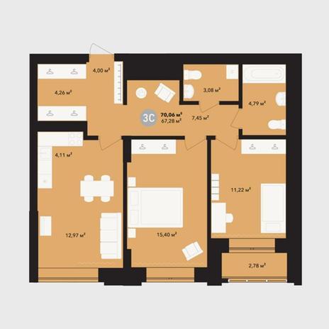 Вариант №5213, 3-комнатная квартира в жилом комплексе